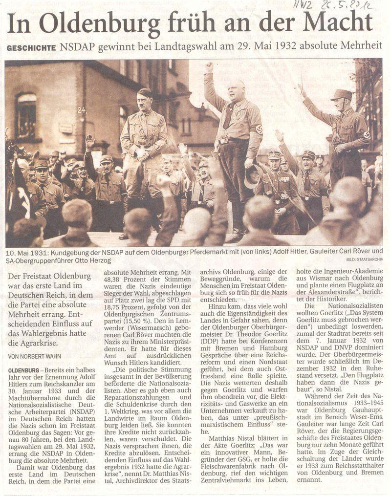 Zeitungsartikel der Nordwest-Zeitung, in dem über eine Wahlkampfveranstaltung vom 10.5.1931 vor dem Dienstgebäude berichtet wurde