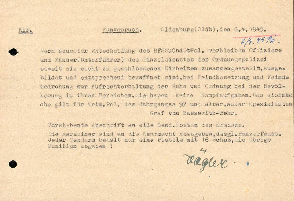 Funkspruch Kapitulation 1945