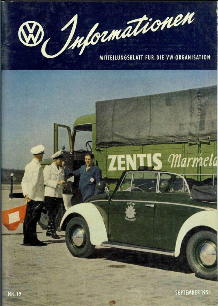 Informationen aus dem Mitteilungsblatt für die VW Organisation, Nr. 19 im September 1954 (Quelle: https://i.pinimg.com/originals/dc/30/5d/dc305dd65def4bb0a481b9e22d61c61a.jpg)